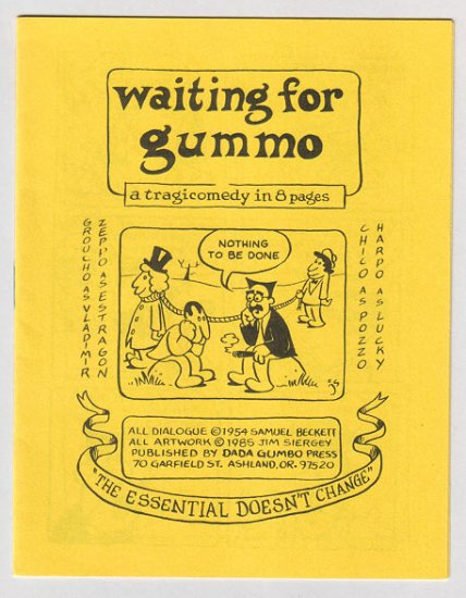 WAITING FOR GUMMO mini-comic JIM SIERGEY Godot starring the Marx Brothers 1985