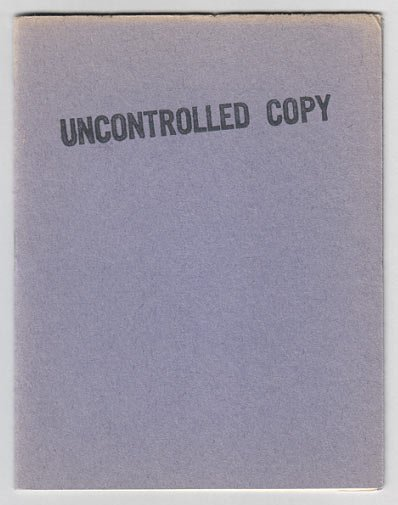 UNCONTROLLED COPY mini-comic MARY FLEENER Jeff Gaither MICHAEL RODEN 1986