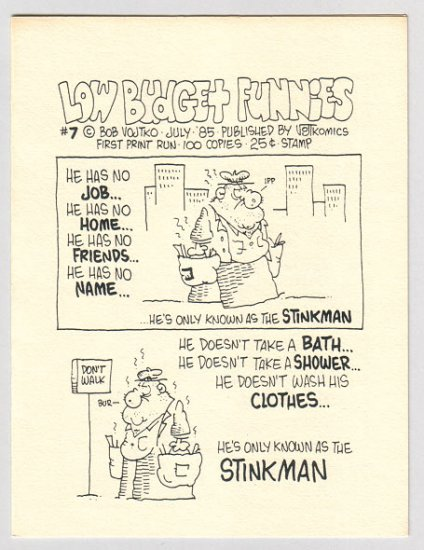 LOW BUDGET FUNNIES #7 mini-comic BOB VOJTKO 1985 signed