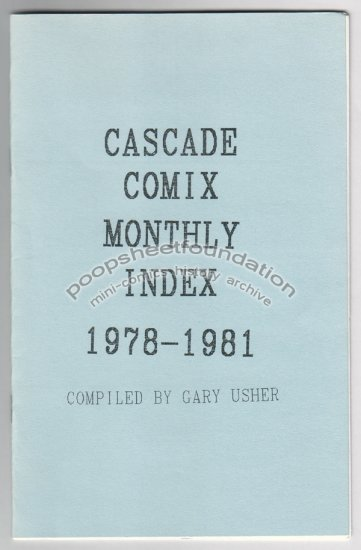 CASCADE COMIX MONTHLY INDEX 1978-1981 reference by Gary Usher 1994
