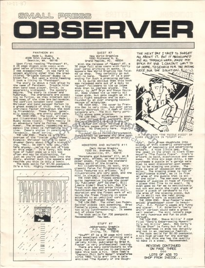 SMALL PRESS OBSERVER Vol. 1, #1 mini-comic reviewzine KEVIN COLLIER 1987