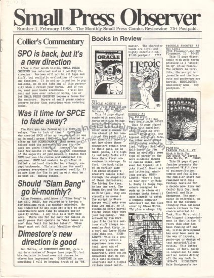 SMALL PRESS OBSERVER Vol. 2, #1 mini-comix reviewzine KEVIN COLLIER 1988