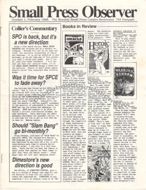 SMALL PRESS OBSERVER Vol. 2, #1 mini-comix reviewzine KEVIN COLLIER 1988