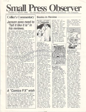 SMALL PRESS OBSERVER Vol. 2, #2 mini-comics reviewzine KEVIN COLLIER 1988