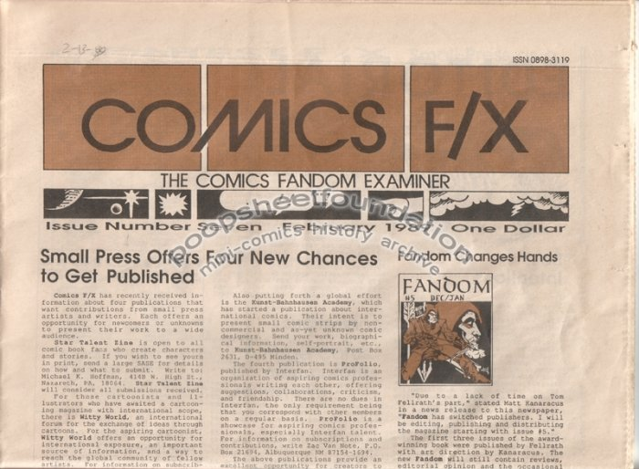 COMICS FX #7 mini-comix reviewzine MATT HOWARTH Terry LaBan WAYNO 1989