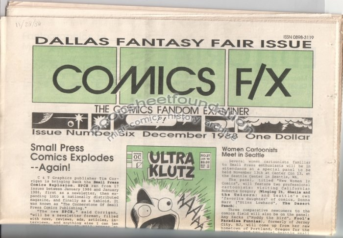 COMICS FX #6 mini-comix reviewzine BRUCE SWEENEY Matt Howarth D. TOSH 1988