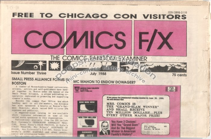 COMICS FX #3 mini-comix reviewzine DONNA BARR Matt Howarth TIM CORRIGAN 1988