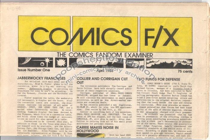 COMICS FX #1 mini-comix reviewzine DAVID TOSH Wayno TIM CORRIGAN 1988
