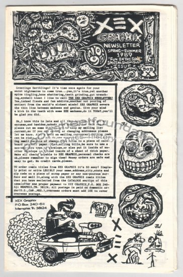 XEX NEWSLETTER #9 mini comix art brut XNO Roy Tompkins J.R. WILLIAMS R.K. Sloane 1989