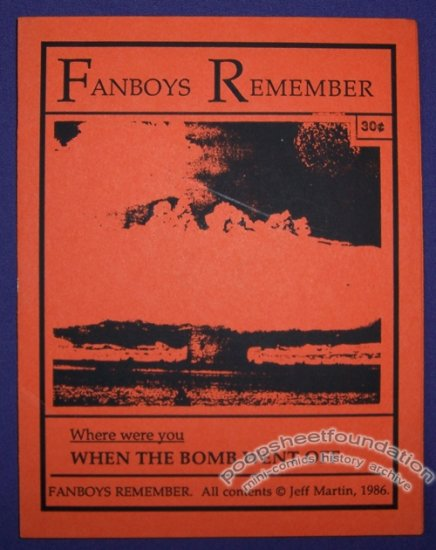 FANBOYS REMEMBER mini-comic JEFF MARTIN minicomic 1986