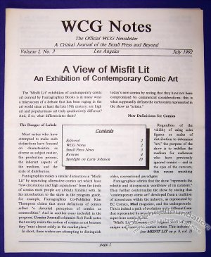 WCG NOTES #3 comic zine LARRY JOHNSON Randy Reynaldo 1992