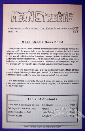 MEAN STREETS #2 comics commentary LYONEL FEININGER Zot 1989