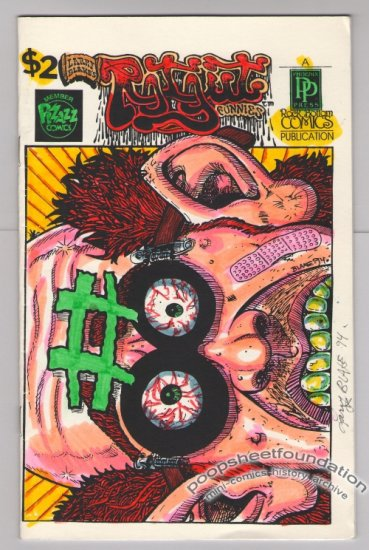 ROTGUT FUNNIES #8 mini-comic LARRY BLAKE signed hand-colored cover 1994