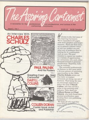 ASPIRING CARTOONIST #2 newsletter CHARLES SCHULZ Daryll Collins COLLEEN DORAN 1990s