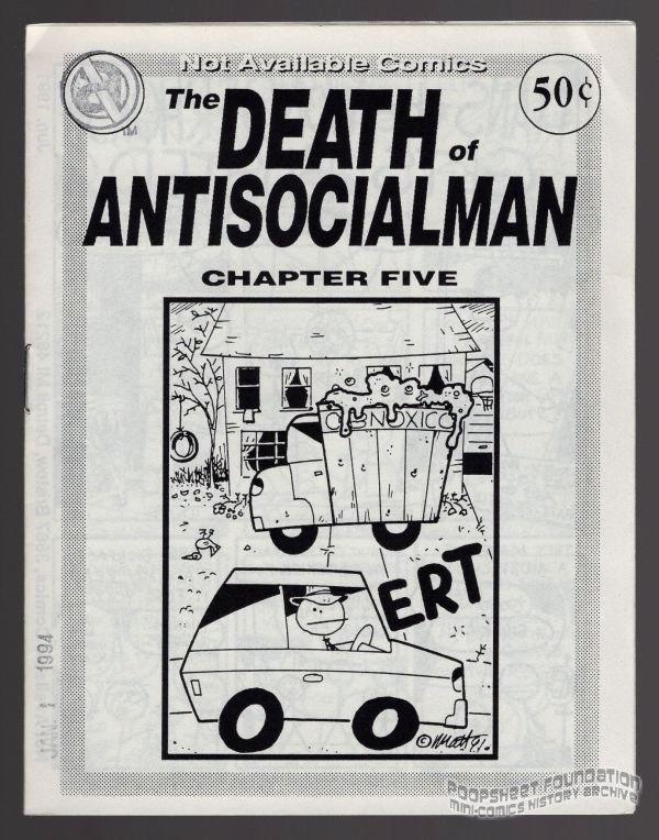 DEATH OF ANTISOCIALMAN #5 mini-comic MATT FEAZELL small press comix 1991