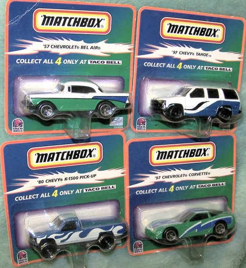 Taco Bell 1999 Hot Wheels Matchbox Full 4 Car Set NIB