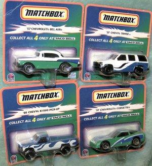 Taco Bell 1999 Hot Wheels Matchbox Full 4 Car Set NIB