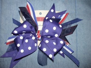 Blue Polka Dot & Red Flash Bow