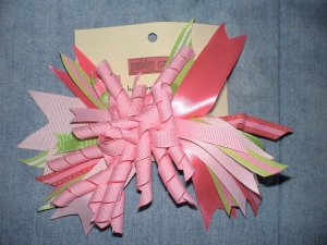 Pink & Green Flash Bow