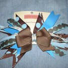 Brown Blue & Leopard Flash Bow
