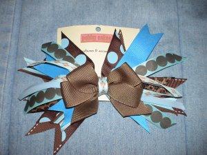 Brown Blue & Leopard Flash Bow