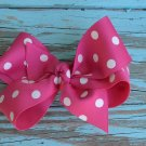 Hot Pink & White Polka Dot Bow