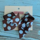 Brown w/ Blue Polka Dots Bow