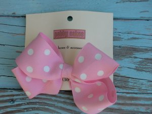 Light Pink Polka Dots Bow