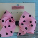 Pink w/ Black Polka Dots Bow
