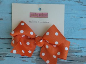 Orange Polka Dots Bow