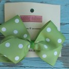 Green White Polka Dots Bow