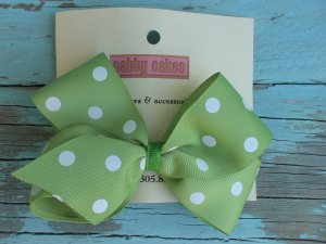 Green White Polka Dots Bow