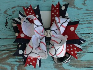 Baseball Polka Dot Flash Bow
