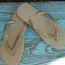 Swarovski Crystal Flip Flops-Gold