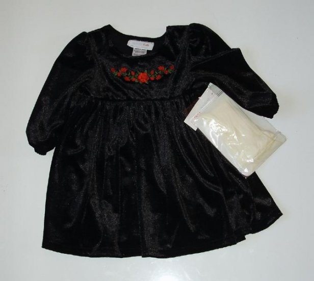NWT Baby Infant Black Velvet Holiday Christmas Dress 18