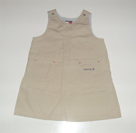 Tommy Hilfiger Girl's Toddler Khaki Jumper Dress 3T EUC