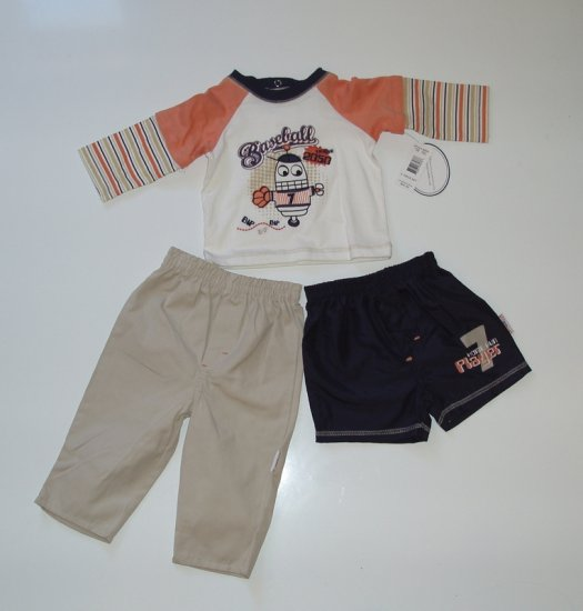 baby Infant Toddler Boy Vitamins 3 pc Shirt pant 12 m
