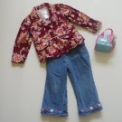 Girl Toddler 3 Jacket Jeans Dog Purse Outfit EUC
