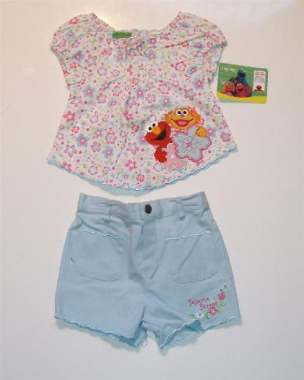 Infant Baby girl Sesame Street Elmo Summer Outfit 12 NW