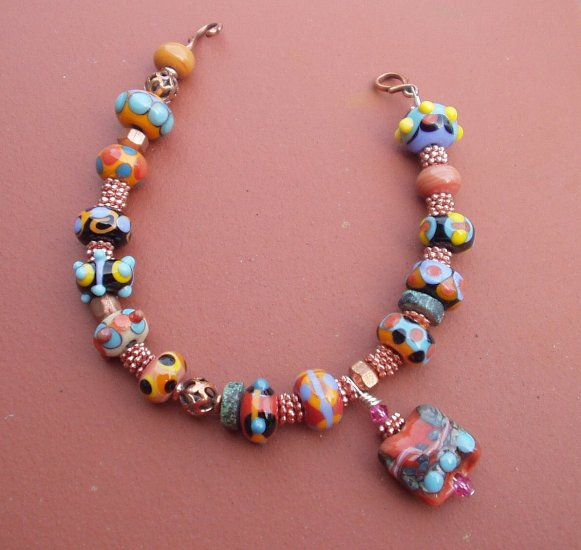Impressive lampwork and copper bracelet  SRA 4WC