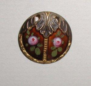 Pierced Art Nouveau Enamel Emaux Peints Button Hand Painted Roses