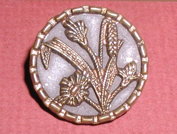 "Wheat & Floral Victorian Button 7/8"" Copper Tint"