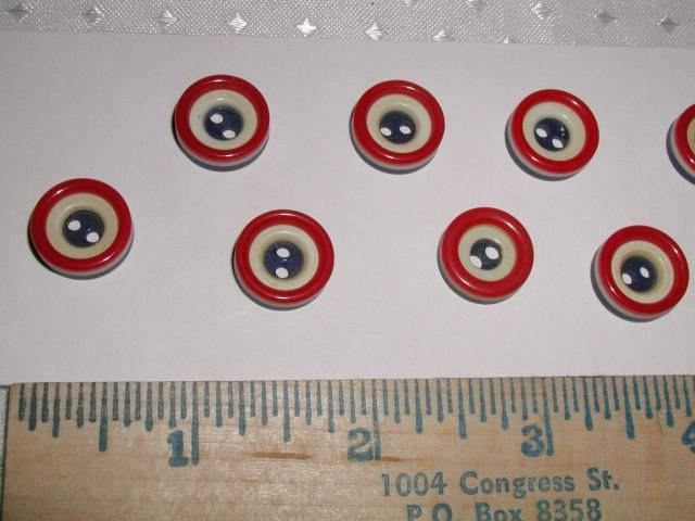 10 Vintage Patriotic Red White & Blue Laminated buttons