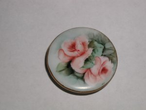 """Hand Painted Porcelain Pink Cabbage Roses Button 1 3/8"""""""