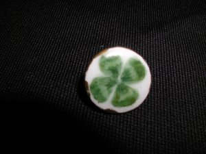 Hand Painted Shamrock, 4 Leaf Clover Button Signed