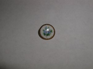 Hand Painted Porcelain Button Blue Pansies