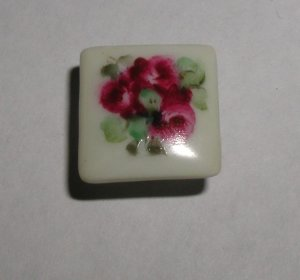 Hand Painted Porcelain Ruby Roses Square Button