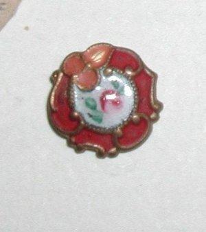 "Antique French Enamel Diminutive Button 7/16"""