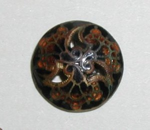 "Antique French Enamel Button Orange & Black 9/16"""