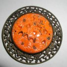 Antique Jeweled Sash Buckle Bright Orange